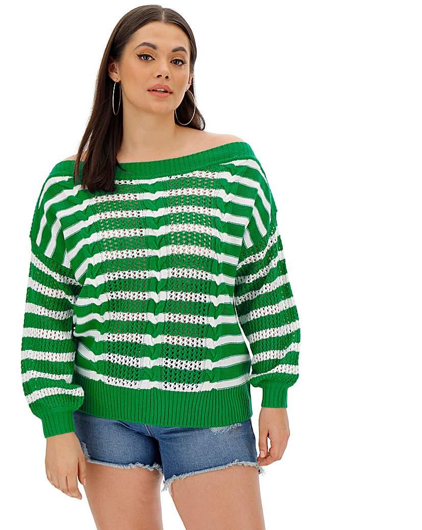Simply Be Green/White Slash Neck Jumper