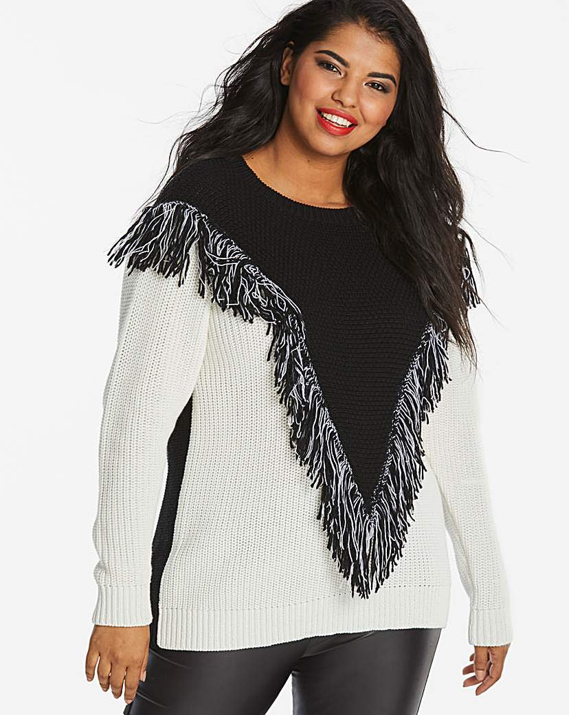 Simply Be Fringed Chevron Jumper