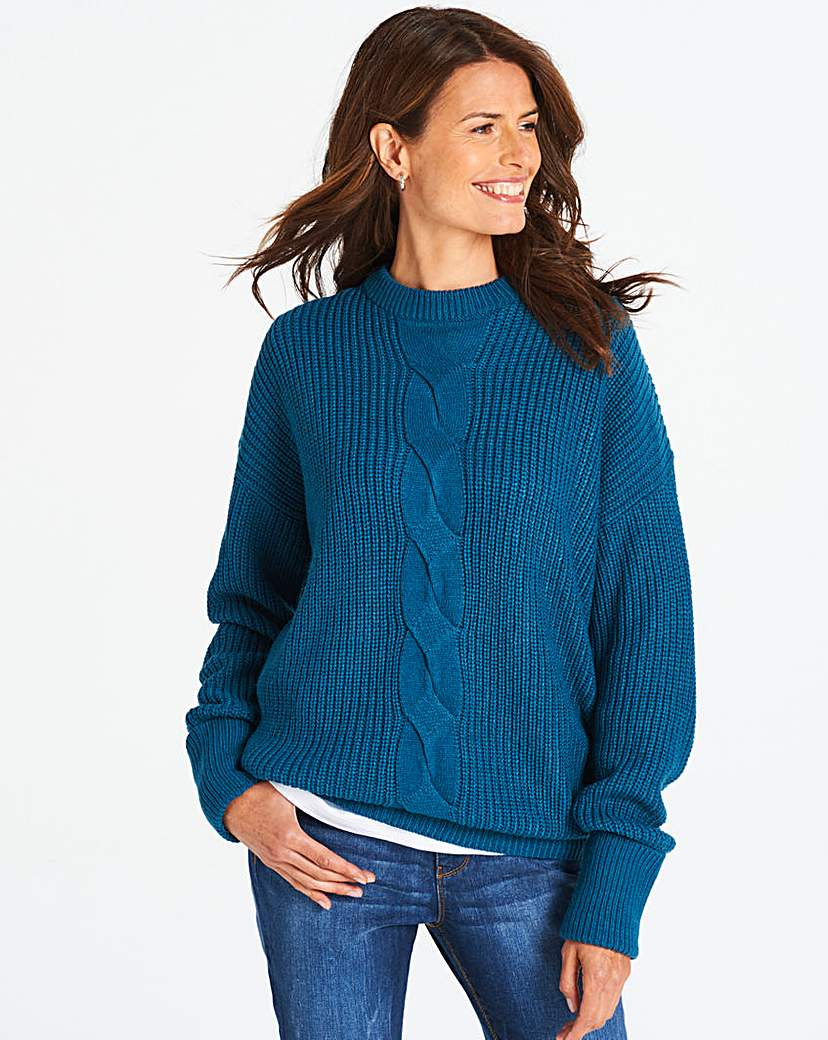 Teal Cable Crew Neck Jumper