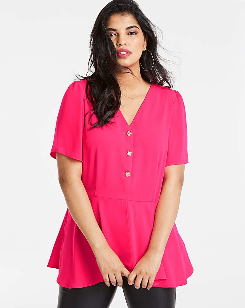 Simply Be Pink Angel Sleeve Tea Blouse