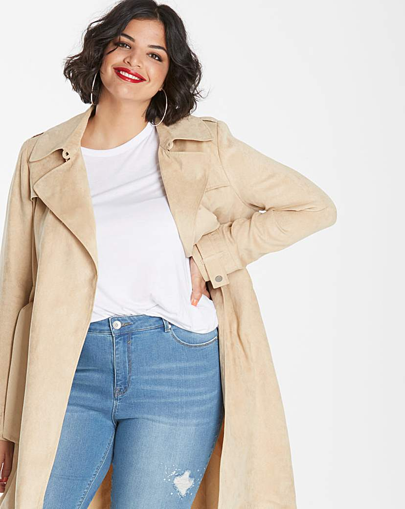Simply Be Longline Suedette Camel Trench Coat