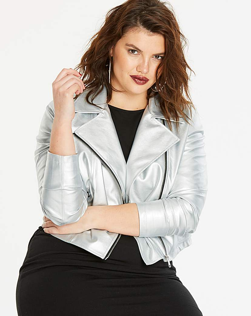 Simply Be Metallic Faux Leather Biker Jacket