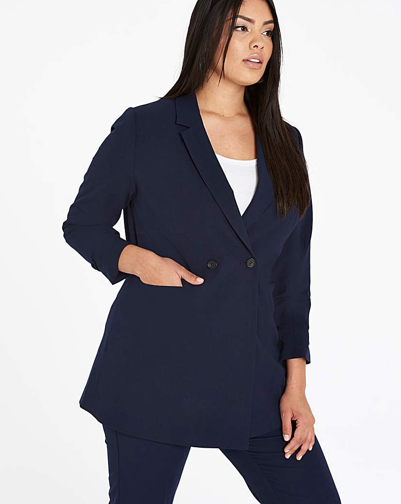 Simply Be Ruched Sleeve Double Breasted Blazer