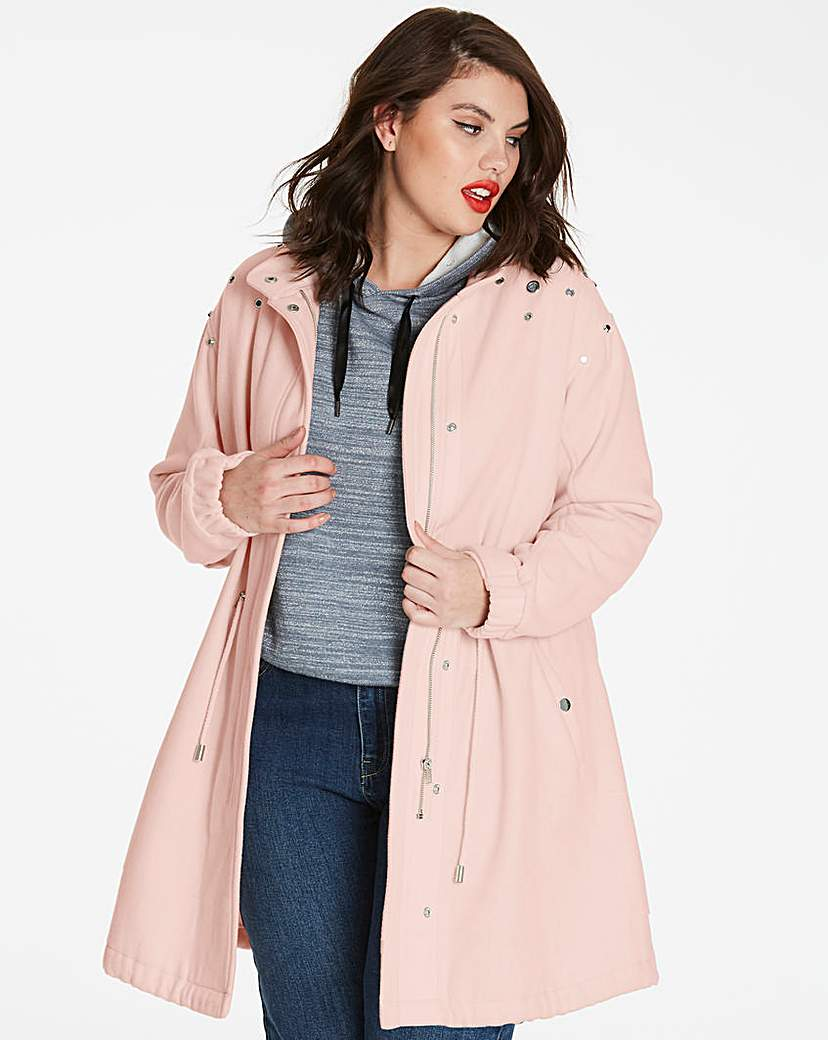 Simply Be Longline Wool Coat with Jewels