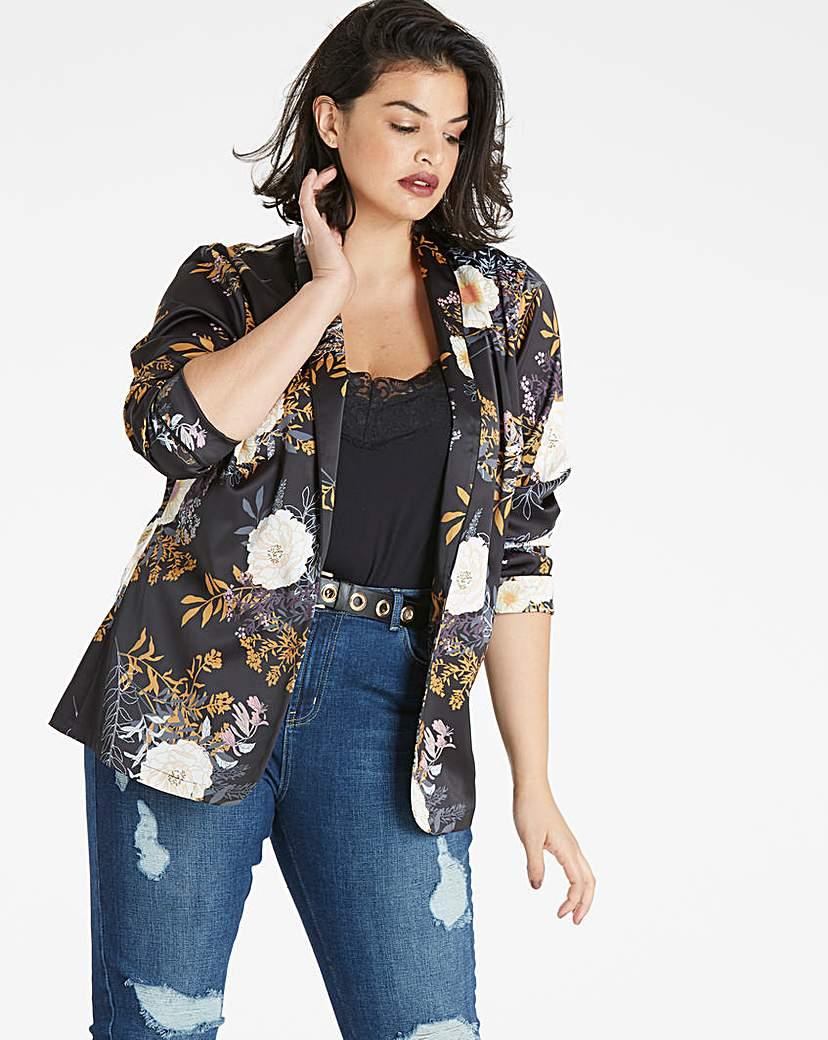 Simply Be Floral Print Satin Blazer