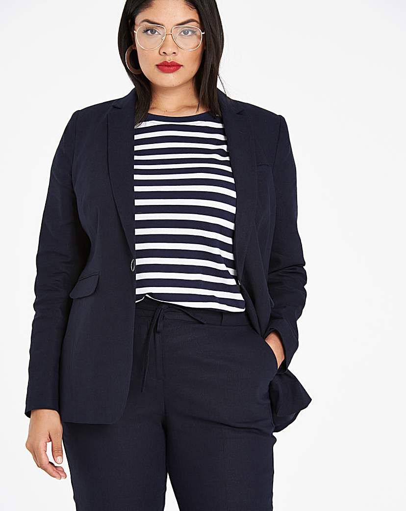 Simply Be Linen Rich Blazer with Metal Fastening