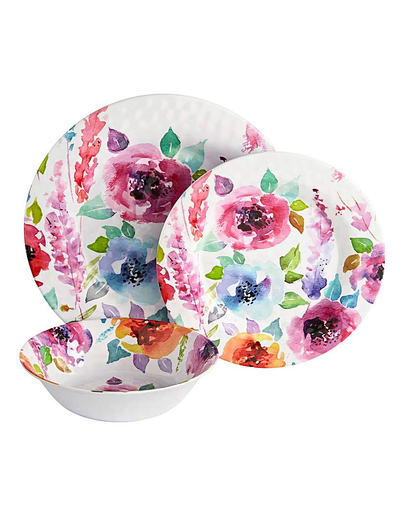 Image of 12pc Melamine Floral Dinnerset
