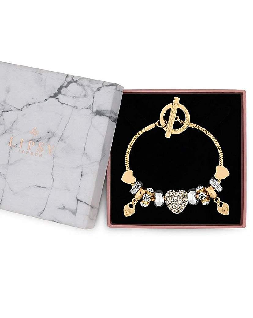 Lipsy Crystal Heart Charm Bracelet