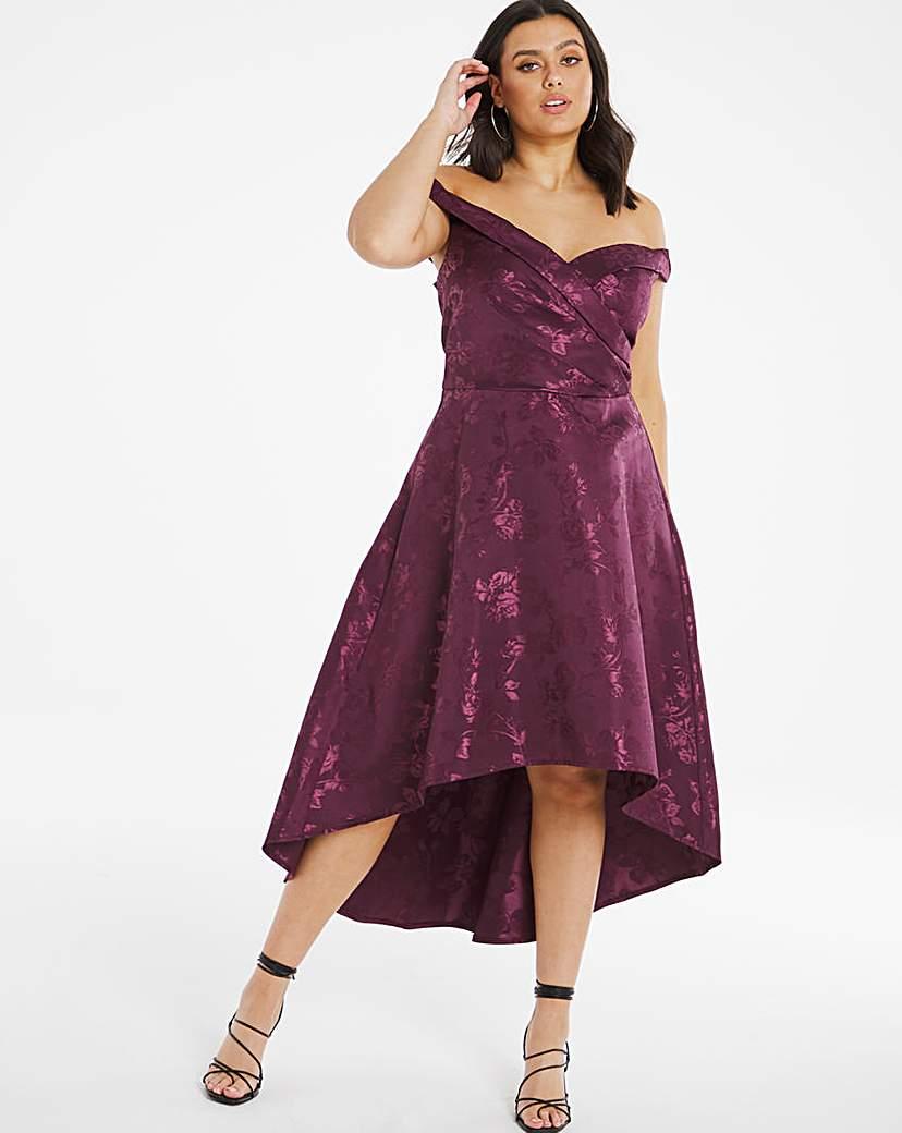Chi Chi London Chi Chi London Bardot Dipped Hem Dress