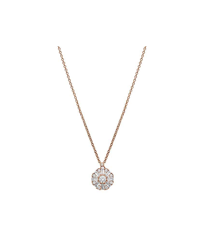14ct Rose Gold Baguette Halo Necklace