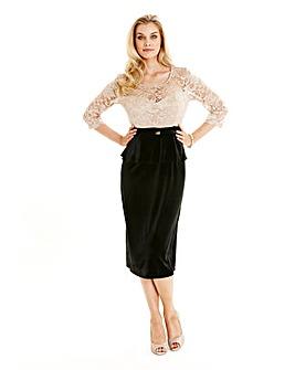 Joanna Hope Lace Trim Velour Dress