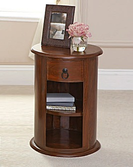 Drum Pillar Chest with Shelf and Drawer