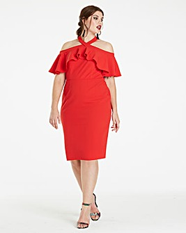 Red Magisculpt Off the Shoulder Dress