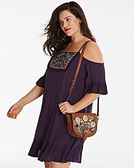 Crinkle Embellished Cold Shoulder Dress
