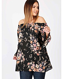 Lovedrobe GB multi floral Bardot blouse
