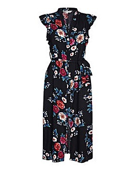 Yumi Curves Floral Print Split Hem Dress