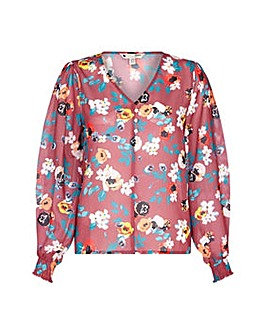 Yumi Curves Floral Print Button Front To