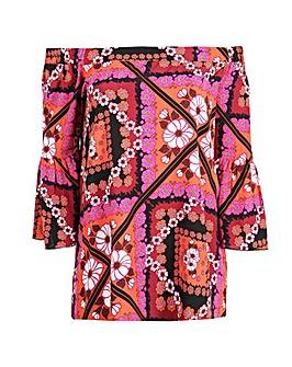 Lovedrobe GB multi floral Bardot blouse