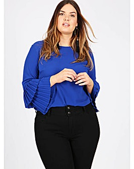 Lovedrobe GB blue top with pleated cuffs