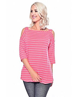 Grace striped cold shoulder tunic