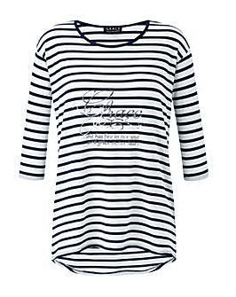 Grace striped tee with slogan