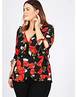 Lovedrobe GB floral print wrap top