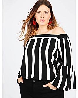 Lovedrobe GB stripe bardot blouse