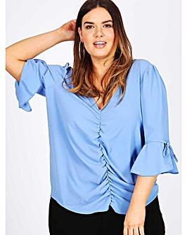 Lovedrobe GB blue tie sleeve blouse