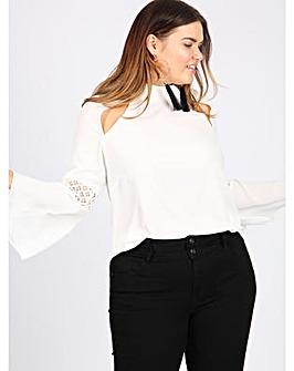 Lovedrobe GB ivory bell sleeve blouse