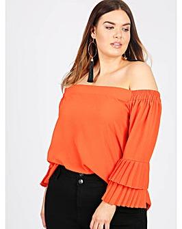 Lovedrobe GB orange bardot blouse