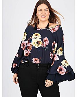 Lovedrobe GB navy floral top