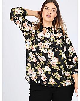 Lovedrobe GB black floral print blouse