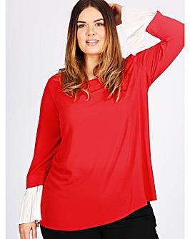 Lovedrobe GB red pleated sleeve blouse