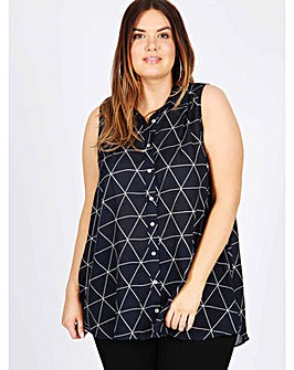 Koko navy geometric sleeveless shirt