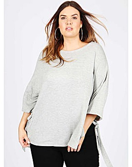 Koko grey oversized eyelet detail top