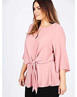 Koko pink knot front blouse