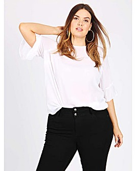 Koko white 3/4 frilled sleeve blouse