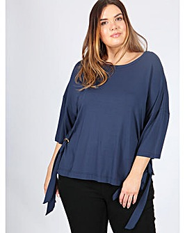 Koko navy oversized eyelet detail top