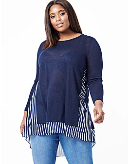 Blue Vanilla Curve Contrast Detail Tunic