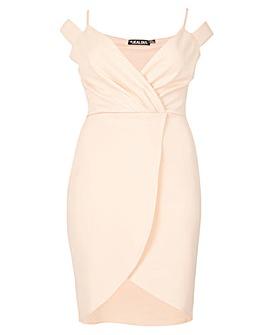 Be Jealous Wrap Over Cold Shoulder Dress