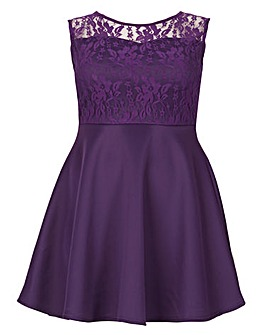 Be Jealous Lace Insert Skater Dress