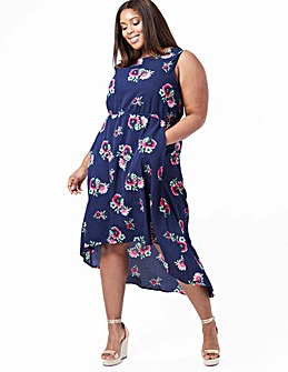 Blue Vanilla Curve Hi-Low Maxi Dress