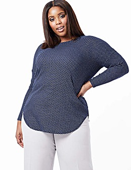 Blue Vanilla Curve Polka Dot Top