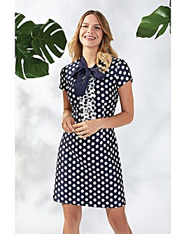 Gina Bacconi Joy Spotted Jacquard Dress