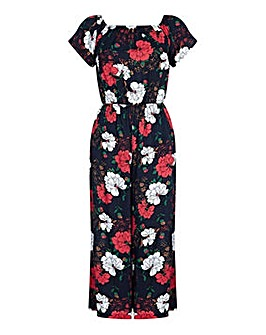 Yumi Curves Floral Off Shoulder Jumpsuit