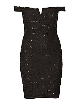 Be Jealous Lace and Sequin Midi Dress