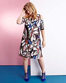Edit Print Open Shoulder Dress