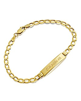 Personalised Gold Flat Curb ID Bracelet