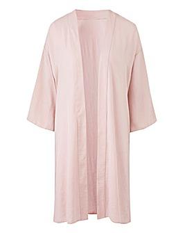Pink Longline Distressed Satin Kimono
