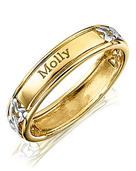 Silver Personalised Two Name Ring